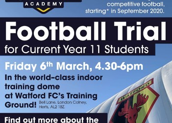 SRA Football Academy Trials - a chance to play in Watford FC's world-class indoor dome!