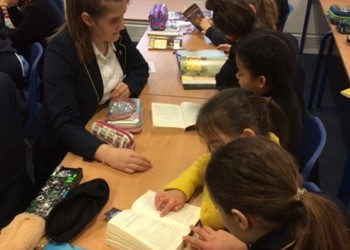 Primary and Secondary students read together for World Book Day!